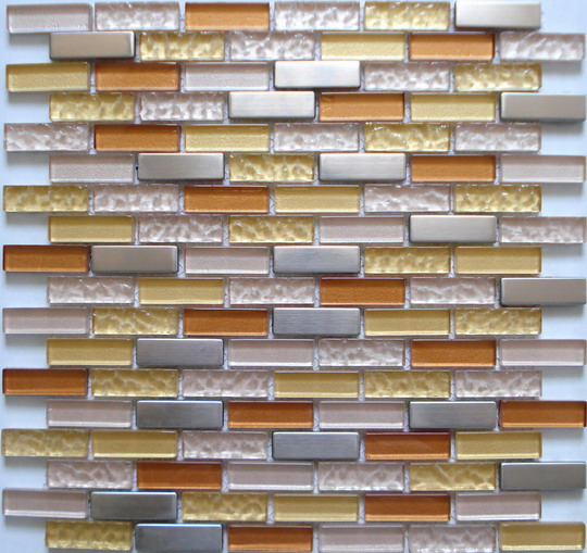 LADA SSBG03 Crystal Glass Stainless Steel Mixed Brick Style Series Mosaic Tiles