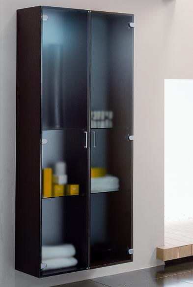 BMT Sky Tech Collection Wall Hung Bathroom Storage Linen Cabinet in Wenge Wood with Sanded Glass Door