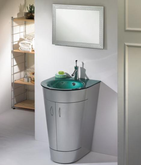 Frank Conus Shape Bathroom Vanity with Integrated Glass Top & Mirror 24