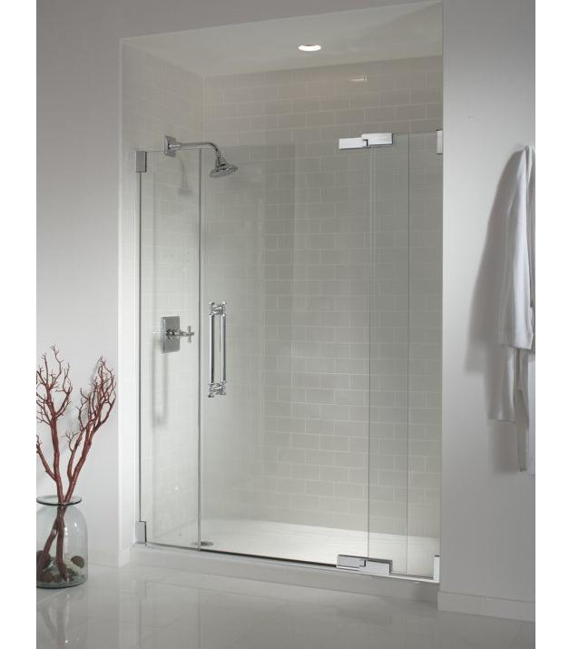 Kohler K-705706-L Pinstripe heavy glass pivot shower door