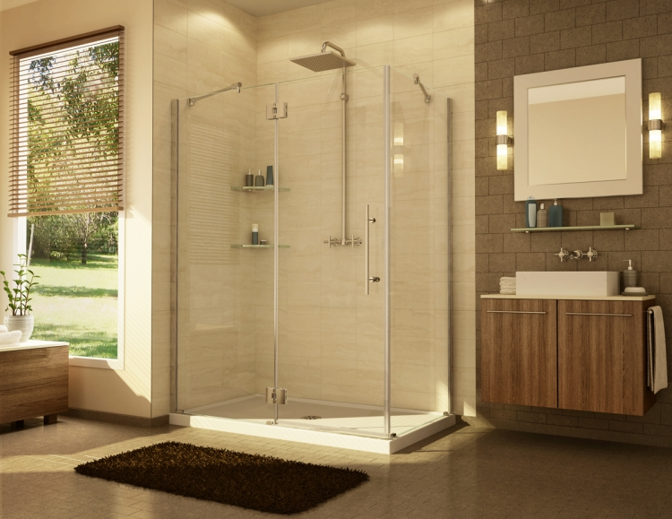 Fleurco Platinum IN-LINE Frameless Panel and Door with Return Panel Shower Enclosure