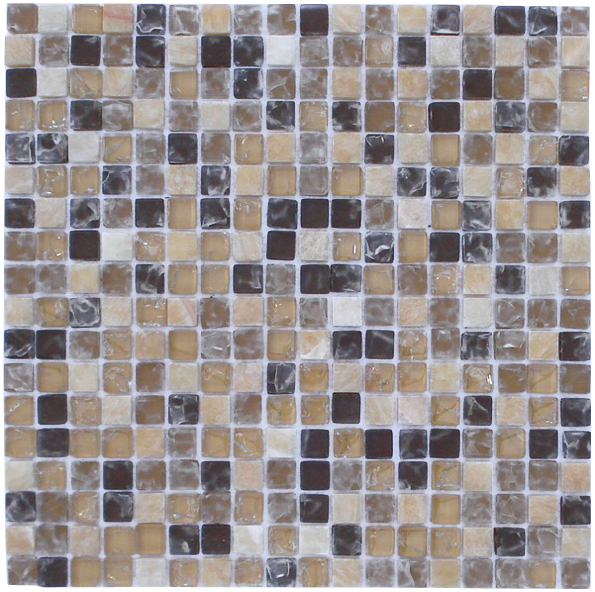 LADA GS63 Crackle Glass & Stone Mixed Series Mosaic Tile