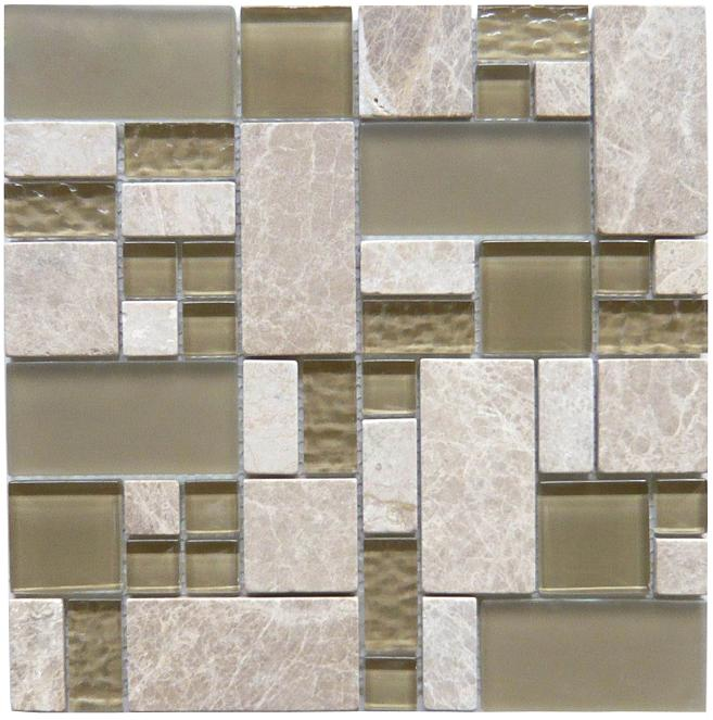 LADA GQ01 Glass & Stone Blend Crescendo Series Mosaic Tile