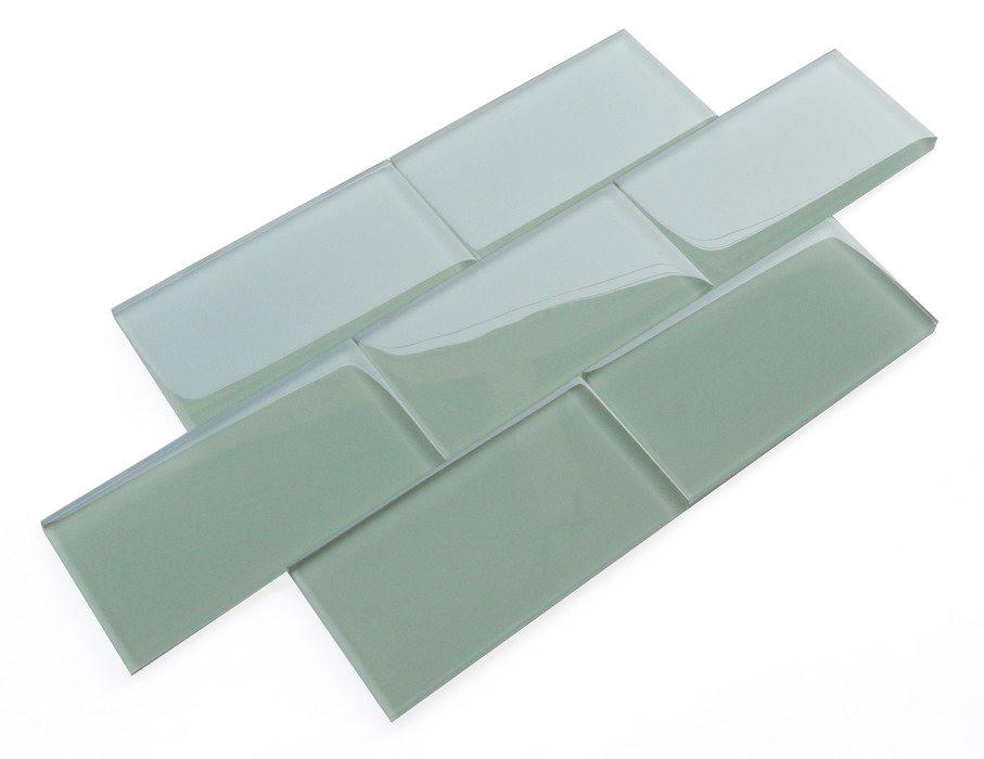 LADA SG07 Serene Green Crystal Glass Subway Tile 3x6