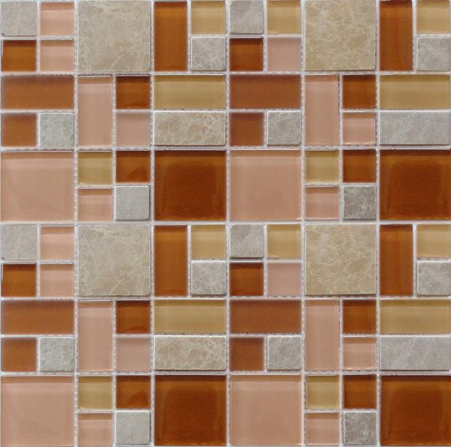 LADA GPS04 Mixed Blend Multi Size Glass & Stone Series Mosaic Tile