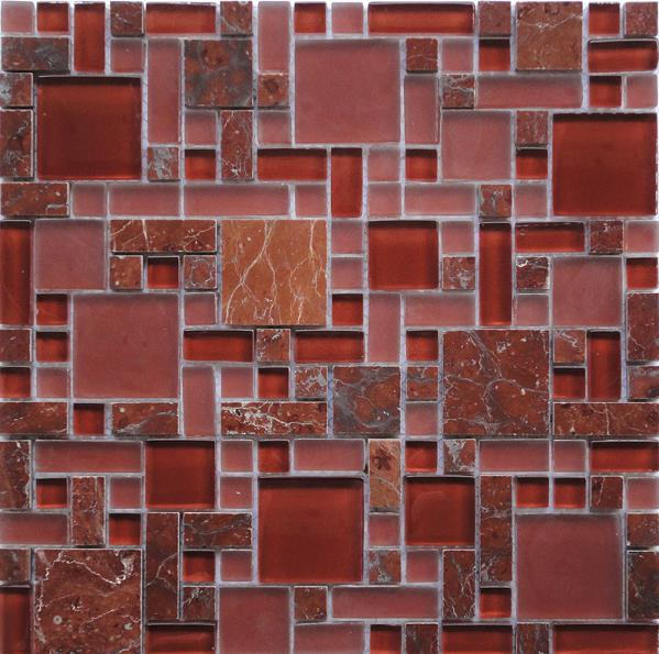 LADA GPS06 Mixed Blend Multi Size Glass & Stone Series Mosaic Tile