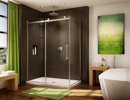 Fleurco Novara Sliding Door Shower Enclosure with return panel