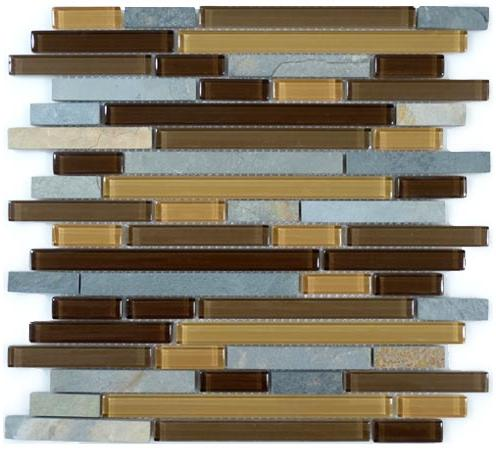 Mirage Glazzio GS12 Glass & Slate Series Mineral Cliff Mosaic Tile