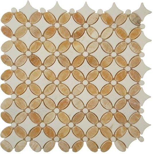 Mirage Glazzio FS75 Flower Series Honey Onyx + Thassos White Mosaic Tile